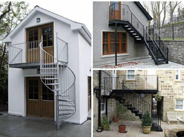 Строительство дома с наружной лестницей