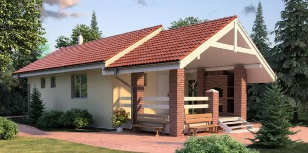 Строительство загородных домов с верандой под одной крышей